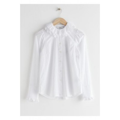 & OTHER STORIES Damen Embroidered Ruffle Cotton Blouse - White Cerca de mí Modo Manual Ocasional RELY1983