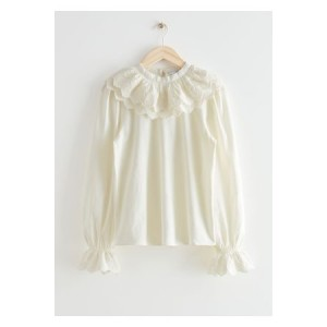 & OTHER STORIES Damen Embroidered Statement Collar Blouse - White En Venta Modo Manual Ocasional GEDN5128