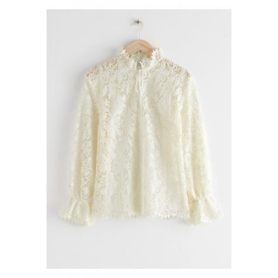 & OTHER STORIES Damen Relaxed Scalloped Ruffle Lace Blouse - White Cerca de mí Modo Manual Personalidad modelo QJUV3501